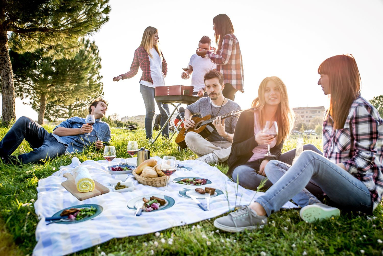 Picnic Desserts - friends gathered around blanket outside with plates of food and drinks