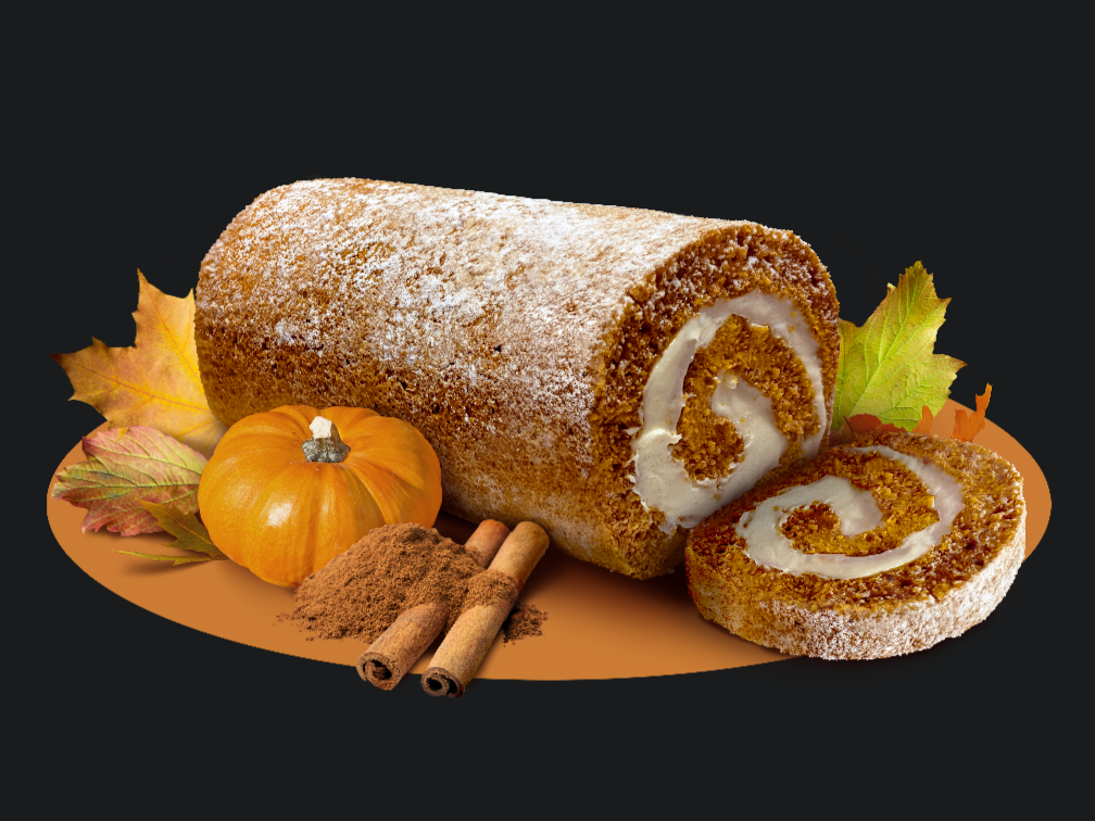 Pumpkin Cake Roll with one slice on its side. Pumpkin, cinnamon sticks, and ground cinnamon as garnish. Leaves sway in the breeze with a gold, swaying line going throughout.